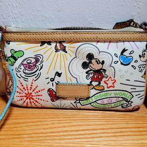 Dooney & Burke Disneyland Sketch Leather Wristlet